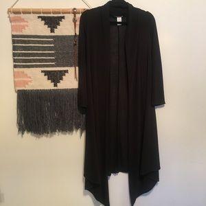 Long flowy black draped cardigan like new size M